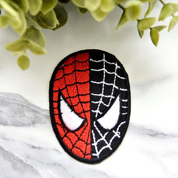 SPIDERMAN GOOD Vs EVIL  Badge Iron on Patch Patches Pin Sew On Embroidered Stitched Mask Movie Black Red Childrens Comic Fantasy Superhero