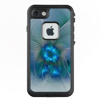 Standing Ovations, Abstract Blue Turquoise Fractal LifeProof® FRĒ® iPhone 7 Case