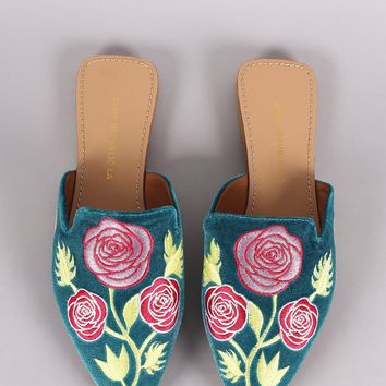 Shoe Republic LA Embroidery Floral Pointy Toe Mule Flat