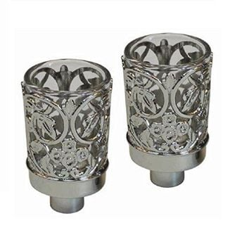 5th Avenue Collection Neronim Set of 2 Candle Holders Nickel Plated 3 inch H