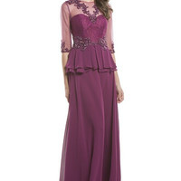 Long Mother of the Bride Peplum Dress Evening Gown Navy & Plum