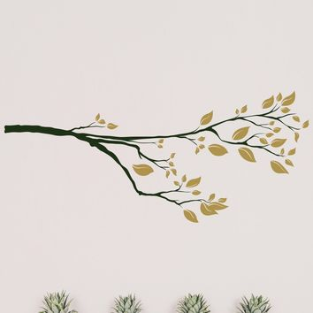 Tree Branch with leaves wall decal.  #830
