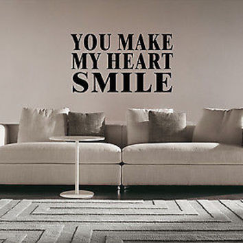 You Make Me Smile quote wall sticker quote decal wall art decor 4554