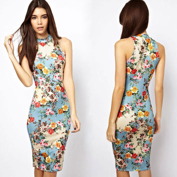 Blue Floral Print Sleeveless Halterneck Bodycon Midi Dress