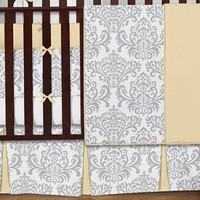 Yellow, Gray and White Avery Damask Print Girl or Boy Baby Bedding Collection Unisex 9pc Crib Set