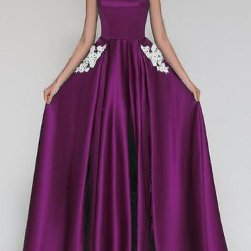 Purple Lace Pleated Pockets Off Shoulder Backless Banquet Bridesmaid Elegant Party Maxi Dress