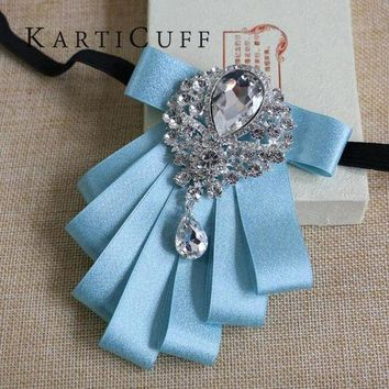 DCCKFV3 High Quality Sky Blue Bow Tie Gem Jewelry Luxury Series Han Edition British Style Men Women Suit Shirt Dress Jewelry