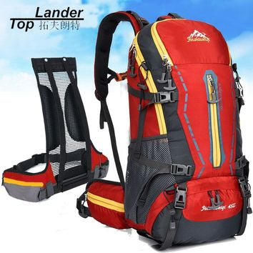 Professional Mountain Climbing Bag 45L Outdoor Waterpoof Camp Travel Hiking Rock Climbing Bag Pack Backpack 45L with Rain Cover
