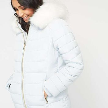 Pale Blue Quilted Puffer Coat