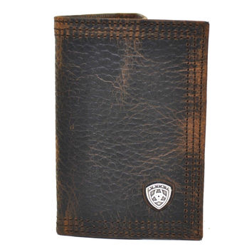 Ariat Tri-Fold Genuine Full Grain Leather Western Men's Wallet-Brown A35122282