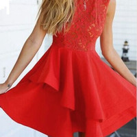 Red Sheer Lace Crochet Tiered Skater Dress