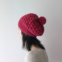 Hand Knitted Bubble Hat in Cherry - Slouch Hat with Pom Pom - Seamless Winter Hat - Wool Blend - Ready to Ship