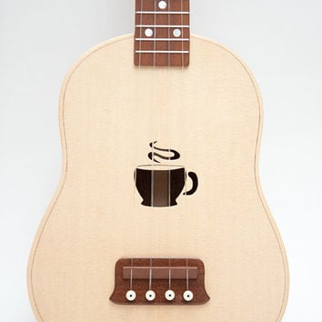 Ukulele (customizable sound hole of choice) Example: coffee cup