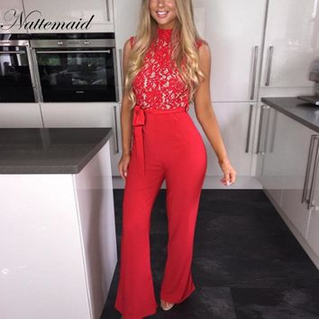 Elegant sexy Sleeveless Lace Patchwork long jumpsuits white lace up bow Overalls Bodycon Rompers
