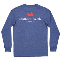 Authentic Long Sleeve Tee in Washed Navy by Southern Marsh