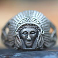 Indian Chief Ring Sterling Silver Vintage