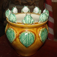 Vintage Majolica Bowl 8 Frog Figures on a hand crafted Jardinière Vase / Planter