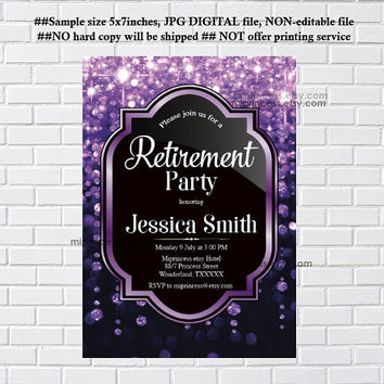Retirement Invitations, Retirement party Invitation, Retirement Celebration, elegant Invite, glitter, purple - card 14