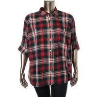 LRL Lauren Jeans Co. Womens Plus Flannel Plaid Button-Down Top