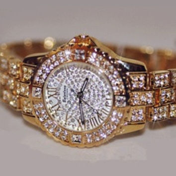 The-Man Austrian Diamond Women Rhinestone Watches Rose Gold Lady Quartz Watch [8321409543]