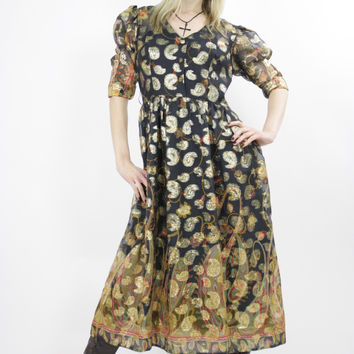 Vintage 70s Gold Metallic Hippie Boho Paisley Dress
