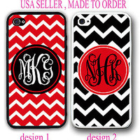 NEW CUSTOM PERSONALIZED RED BLACK CHEVRON MONOGRAM CASE FOR IPHONE 7+ 6S 6 SE 5S