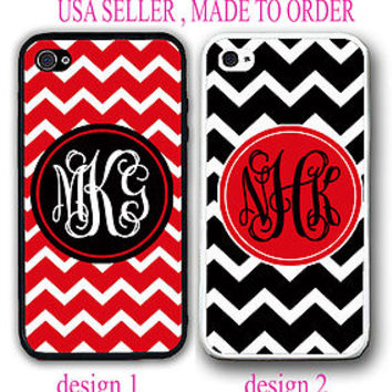 NEW CUSTOM PERSONALIZED RED BLACK CHEVRON MONOGRAM CASE FOR IPHONE 6S 6 SE 5S 5C