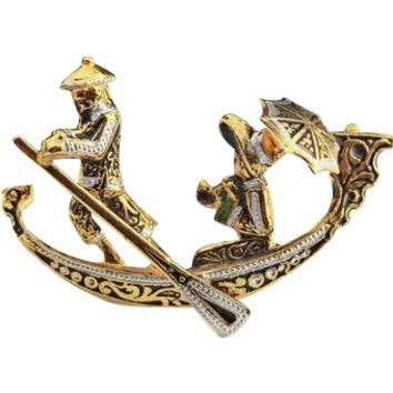 Damascene Gondola Boat Brooch Spanish Vintage Jewelry SPRING SALE