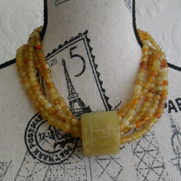 Agate Necklace Beaded Chunky Bold Statement Mothers Day Summer Necklace