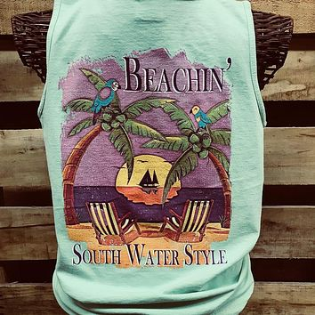 South Waters Beachin Palm Trees Beach Comfort Colors Bright Tank Top Shirt