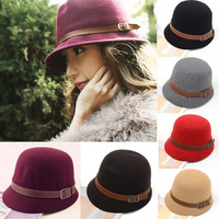 Vintage Autumn Winter Adult Women Fedora Hat Dome Hat England Vintage Bowler Caps Multicolor Ladies Headwear Bucket Hat H3114 = 1958113284