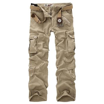 Mulit-Pockets Men Cargo Pants Men Casual Pants High Quality Cotton Trousers Overalls Size 28-38 MCPAK02