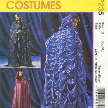 McCall's Costumes Sewing Pattern P235 Hooded Cape Cloak Flared Floor Length Opera Coat Robe Size Large XL Uncut