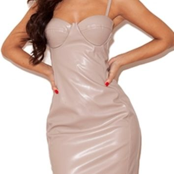 Fake It Till You Make It Taupe Faux Leather Stretch Spaghetti Strap Bustier Bodycon Midi Dress