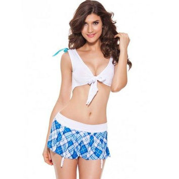Chic Slimming Crop Top + Plaid Mini Skirt Women's Cosplay Suit