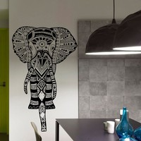Elephant Indian Pattern Yoga Wall Vinyl Decal Sticker Wall Decor Home Interior Design Art Mural Z471
