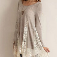 Lace Patchwork Long-Sleeve Swing Dress