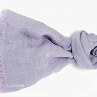 Natural Linen Scarf. Lavender Violet linen scarf. Wisteria Violet organic flax scarf. Eco friendly linen scarf. Fashion Pure Linen scarf