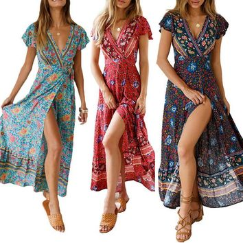 Summer Sexy Women Floral Print V Collar Short Sleeve Beach Dress