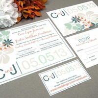 Wildflower Rustic | Modern Wedding Invitation Suite by RunkPock Designs | Flower Floral Bouquet Spring or Autumn Wedding | shown in Rust Orange / Champagne / Mint Moss Green