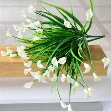 25 heads bouquet mini artificial calla leaf silk fake flower lily plastic Aquatic plants home decoration