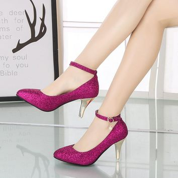 2018 Sexy Women Pumps Extrem High Heels Women Shoes 8CM Glitter Bling Ladies Wedding Shoes Purple Gold Silver Plus Size 44