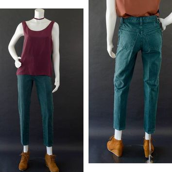 Vintage Jordache Jeans, 80s High Waisted Mom Jeans, Green Dark Washed Denim Jeans, Straight Leg Jeans, Retro cotton Jeans, Women's Size 5/6