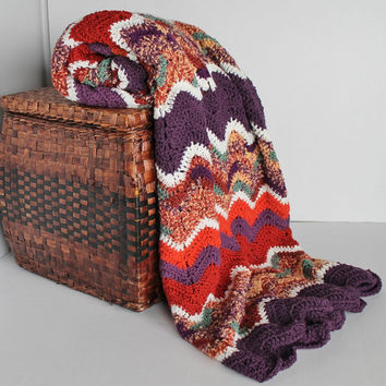 Afghan - Ripple Crochet Blanket - Purple and Oranges
