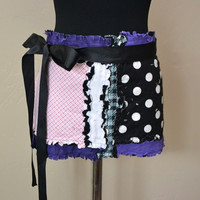 Woman's APRON, Half, Vendor, Pink Black and Purple, with long ties, Ready to Ship,