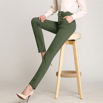 Free Shipping Summer Autumn Plus Size4XL Women New Fashion Spring OL Casual Suit pant Western-Style Trousers Work Pants Trousers