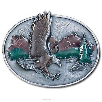 Sports Accessories - Eagle Over Mountains Enameled Belt Buckle
