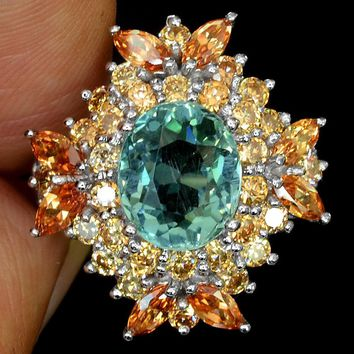 A Natural 14K White Gold 4CT Oval Cut Blue Green Aquamarine White Sapphire Ring