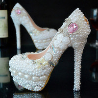 Luxury  Pearl Sparkly Rhinestone Bridesmaid Wedding Prom Evening Dress Pumps Shoes