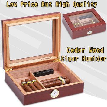 Low Price But High Quality Cedar Wood  COHIBA Cigar Humidor Storage Box Portable Travel Humidor With Humidifier Hygrometer